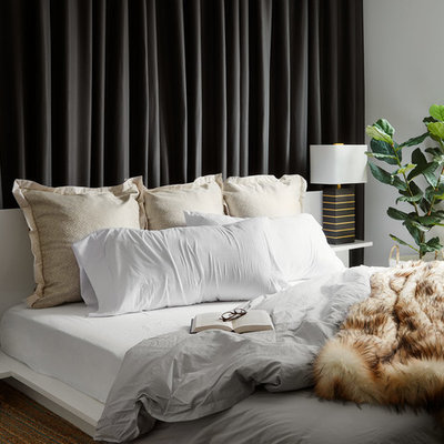 Trendy master bedroom photo in Chicago with white walls and no fireplace