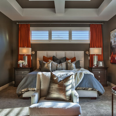 Example of a large transitional master carpeted and gray floor bedroom design in Omaha with brown walls and no fireplace