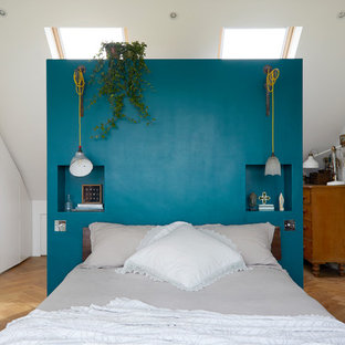 Inspiration for a scandinavian bedroom with white walls, light hardwood flooring and beige floors.