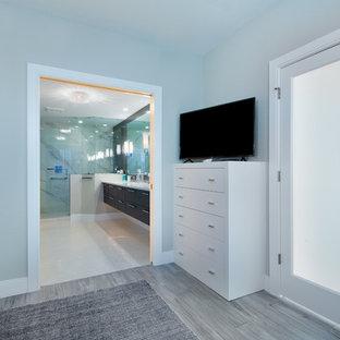 Diseño de dormitorio principal, contemporáneo, de tamaño medio, con paredes grises, suelo de madera clara y suelo gris