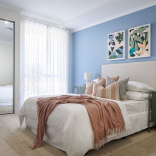 Photo of a beach style bedroom in Perth.