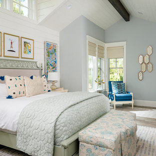 Example of a coastal master bedroom design in Houston with blue walls