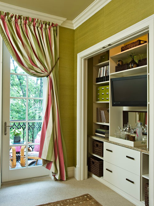 Inspiration For A Small Contemporary Guest Carpeted Bedroom Remodel In Los  Angeles With Green Walls