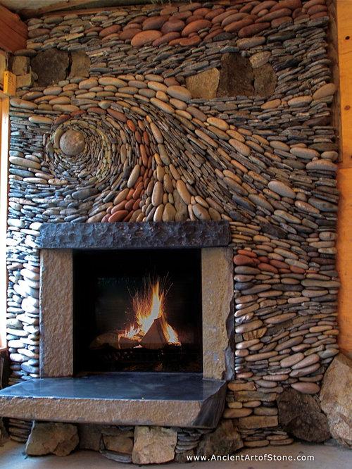 chambre craftsman avec un manteau de chemin e en pierre photos et id es d co de chambres. Black Bedroom Furniture Sets. Home Design Ideas