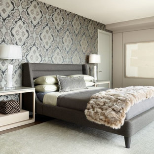 Superieur Trendy Master Dark Wood Floor Bedroom Photo In Chicago With Multicolored  Walls
