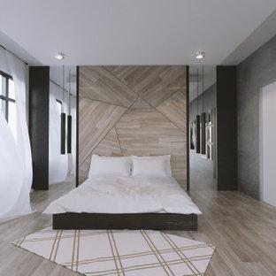 На фото: хозяйская спальня среднего размера в стиле модернизм с белыми стенами, светлым паркетным полом, бежевым полом, кессонным потолком и обоями на стенах