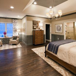 Bedroom - huge traditional master dark wood floor bedroom idea in Boston with beige walls