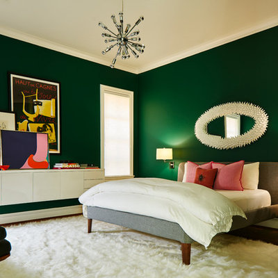Trendy bedroom photo in Dallas with green walls