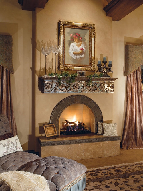 Mediterranean bedroom design ideas renovations photos for Mediterranean fireplace designs