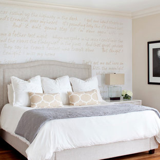 Inspiration For A Large Transitional Master Medium Tone Wood Floor Bedroom  Remodel In Miami With Beige