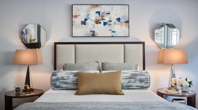 Transitional Bedroom by Sabrina Alfin Interiors