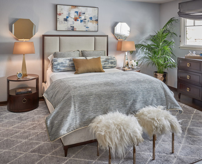 Transitional Bedroom by Sabrina Alfin Interiors