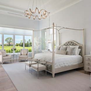 Example of a large transitional master medium tone wood floor bedroom design in Other with blue walls