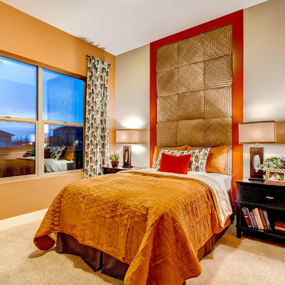 Bedroom - contemporary carpeted bedroom idea in Denver with multicolored walls