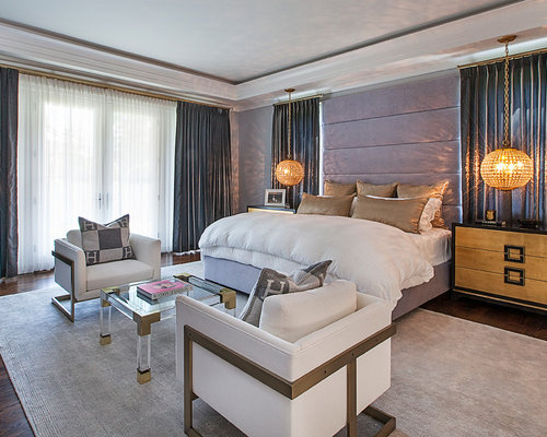 chambre r tro avec un sol en bois fonc photos et id es d co de chambres. Black Bedroom Furniture Sets. Home Design Ideas