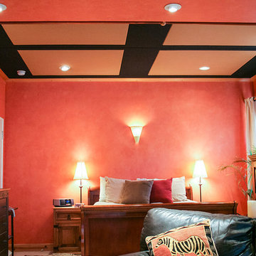 Fabric Covered Acoustic Ceiling Finishing for The Bedroom