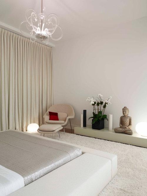zen bedroom furniture. Trendy carpeted bedroom photo in New York with white walls Zen Bedroom  Houzz