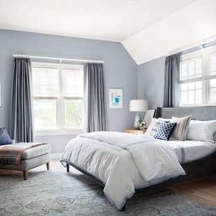 Large transitional guest medium tone wood floor bedroom photo in New York with blue walls