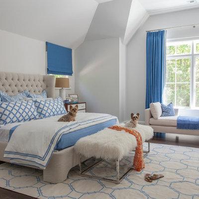 Bedroom - transitional master dark wood floor bedroom idea in Phoenix with white walls