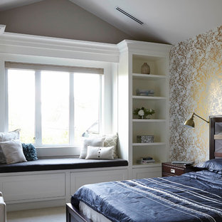 Inspiration for a mid-sized contemporary master light wood floor bedroom remodel in Vancouver with multicolored walls