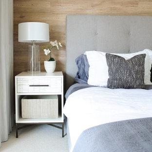 Diseño de dormitorio escandinavo con moqueta