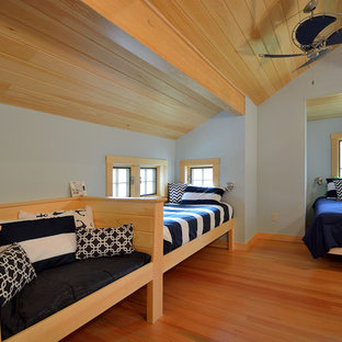 Mid-sized beach style loft-style bedroom in Portland Maine with light hardwood floors and no fireplace.