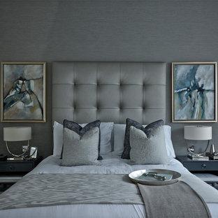 ロンドンのおしゃれな寝室のレイアウト