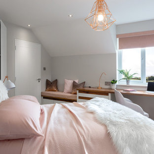 Inspiration for a small scandinavian bedroom remodel in Dublin with white walls