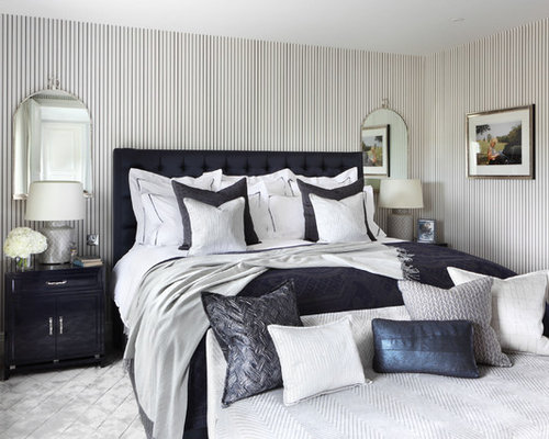 navy blue bedroom. Mid sized elegant master bedroom photo in London with multicolored walls Navy Blue Bedroom  Houzz