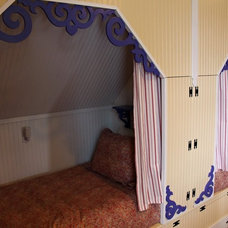Eclectic Bedroom fanciful third floor retreat area for children at our beach house (bunks)