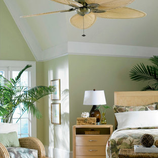 Inspiration for a mid-sized tropical master bedroom in San Diego with green walls, medium hardwood floors and no fireplace.
