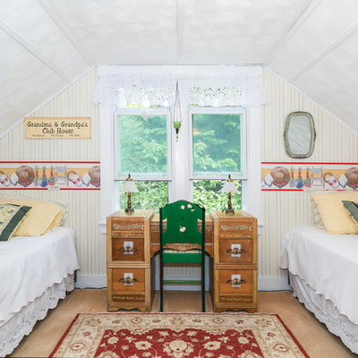 Farmhouse carpeted bedroom photo in Seattle with multicolored walls