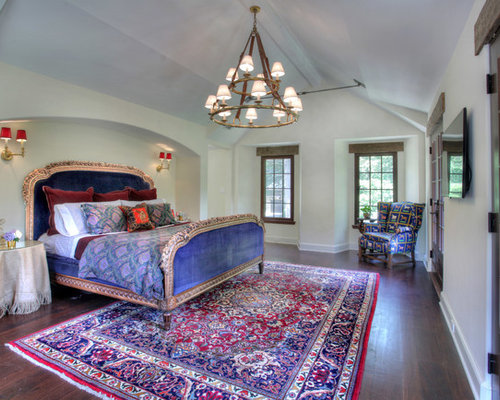 Example Of A Country Dark Wood Floor Bedroom Design In New York With White  Walls