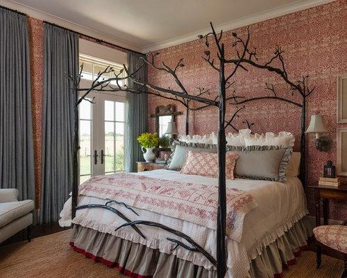Elegant Master Dark Wood Floor Bedroom Photo In Houston With Multicolored  Walls