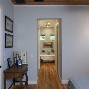 オースティンのカントリー調の寝室の画像 (青い壁)