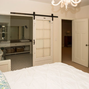 This is an example of a mid-sized country master bedroom in Other with white walls, carpet, no fireplace and beige floor.