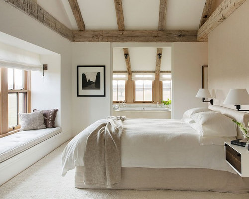 Inspiration For A Mid Sized Farmhouse Master Carpeted Bedroom Remodel In  Other With White Walls