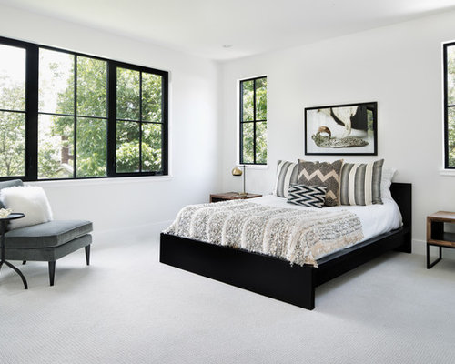 Inspiration For A Large Farmhouse Master Carpeted And Gray Floor Bedroom  Remodel In Austin With Gray