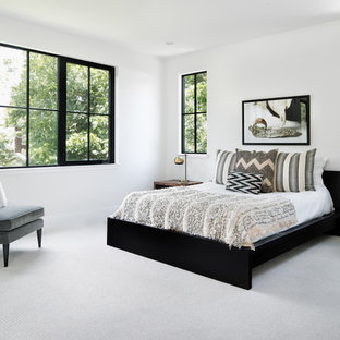 Large rural master bedroom in Austin with carpet, no fireplace, grey walls and grey floors.