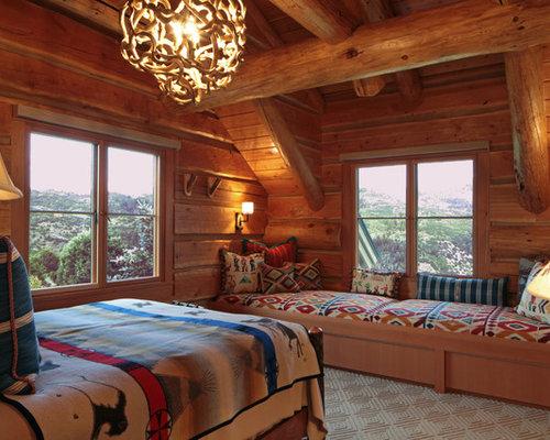 Log Home Bedroom | Houzz