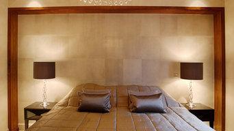 Faux shagreen bedhead panels