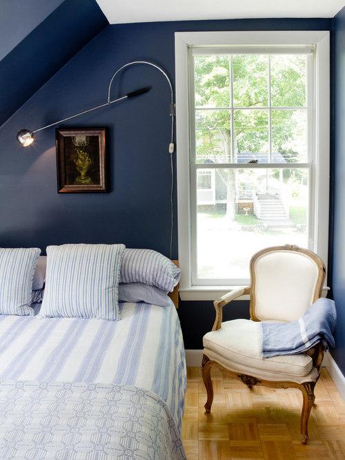 Dark Blue Bedroom | Houzz