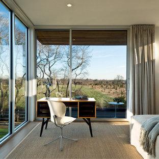 Idéer för retro sovrum, med grå väggar
