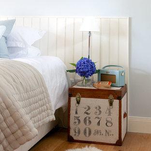 Diseño de dormitorio principal, clásico renovado, con paredes azules y suelo de madera en tonos medios
