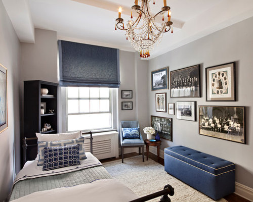 Contemporary Guest Dark Wood Floor Bedroom Idea In New York With Gray Walls
