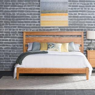 Immagine di una camera degli ospiti moderna di medie dimensioni con pareti grigie, pavimento in ardesia e nessun camino
