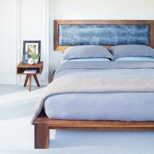 Esempio di una camera da letto minimalista con pareti grigie, moquette e pavimento blu
