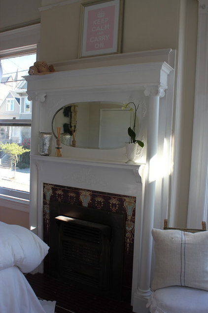 Eclectic Bedroom fireplace