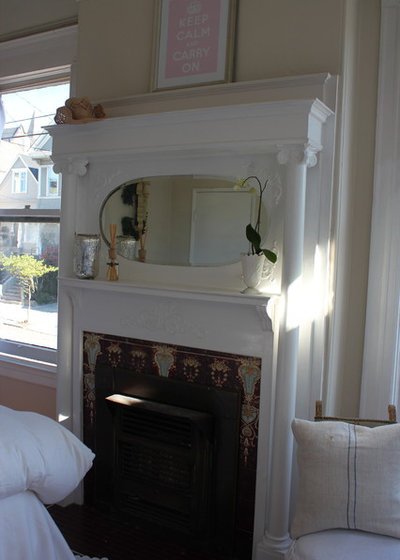 Shabby-chic Style Bedroom fireplace