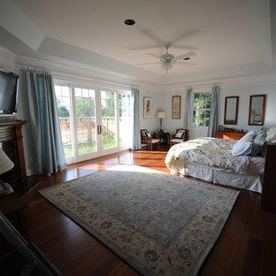 ワシントンD.C.のエクレクティックスタイルのおしゃれな主寝室 (青い壁、無垢フローリング、コーナー設置型暖炉、木材の暖炉まわり) のレイアウト
